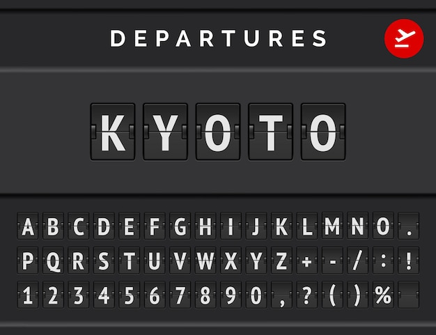 Mechanical airport flip board font displays flight info of departure destination in japan: kyoto with aircraft icon.