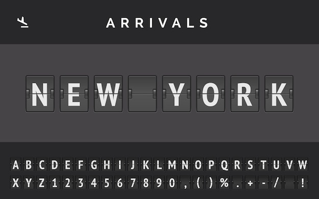 Mechanical airport flip board font displays flight info of destination in america: new york with aircraft arrival sign.