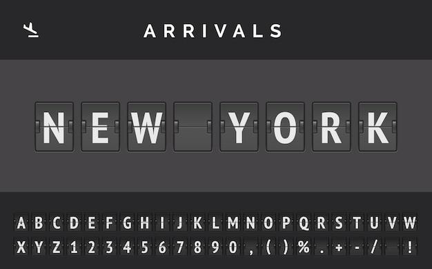 Шрифт механического перекидного щита аэропорта отображает информацию о рейсе пункта назначения в америке: нью-йорк со знаком прибытия самолета.