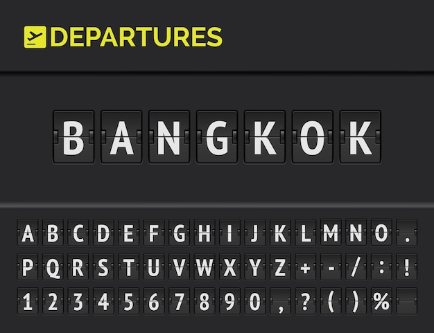 Mechanical airport flip board font with flight info of departure destination in asia: bangkok with aircraft icon.