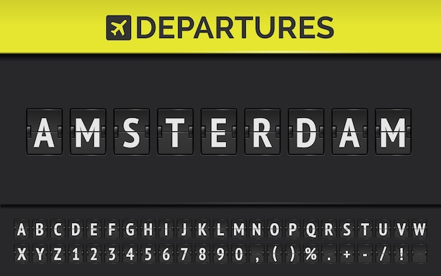 Mechanical airport flip board font with flight info of departure destination in europe amsterdam with aircraft icon. vector