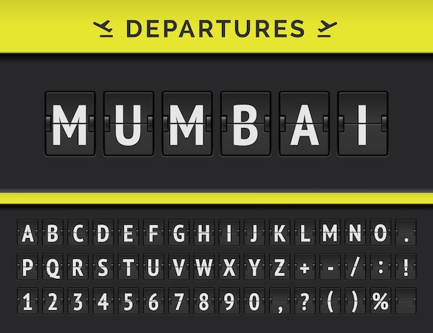 Mechanical airport flip board font with flight info of departure destination in india: mumbai with airline icon.