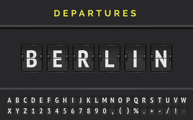 Mechanical airport flip board font with flight info of destination in europe berlin with aircraft departure sign.