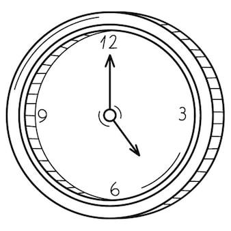 手で機械式アナログ丸い壁時計。線形アイコン。手描きの白黒ベクトル