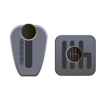 Механическая и автоматическая коробка передач плоские векторные иллюстрации набор иконок коробки передач автомобиля
