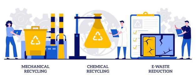 기계 및 화학 재활용, 작은 사람들과 함께 전자 폐기물 감소 개념. 산업 폐기물 관리 벡터 일러스트 레이 션을 설정합니다. 재사용, 쓰레기 처리 및 활용 은유를 위한 처리.