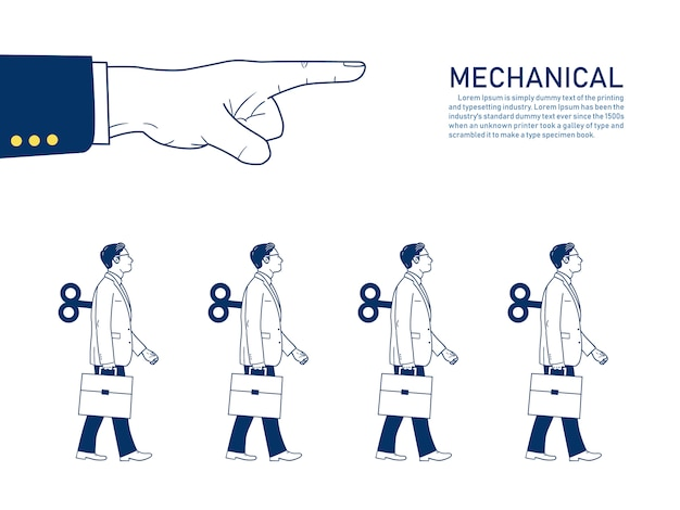 Mechanical businessman walk straight controlled by big hand. text template