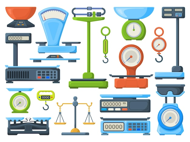 Mechanical and electronic store measuring weight scales. kitchen or shop measuring instrument isometric vector illustration set. weight scales symbols, measure scale electronic for store