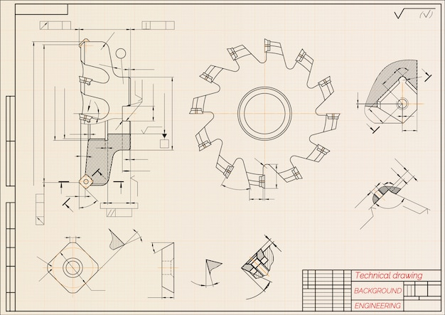 Mechanical engineering drawings on beige technical papel, cutting tools, milling cutter. industrial design.