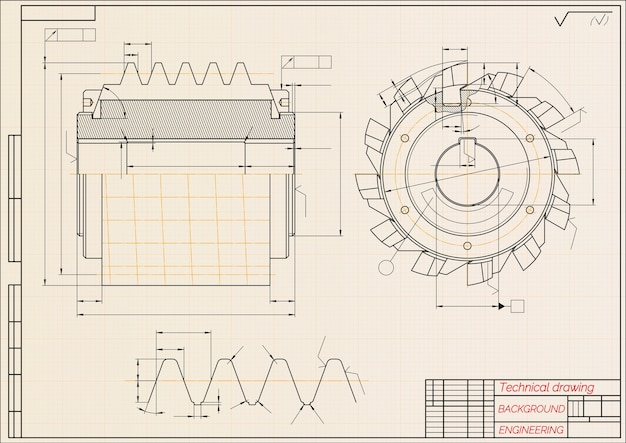 Mechanical engineering drawings on beige technical paper background. cutting tools, milling cutter. industrial. blueprint.