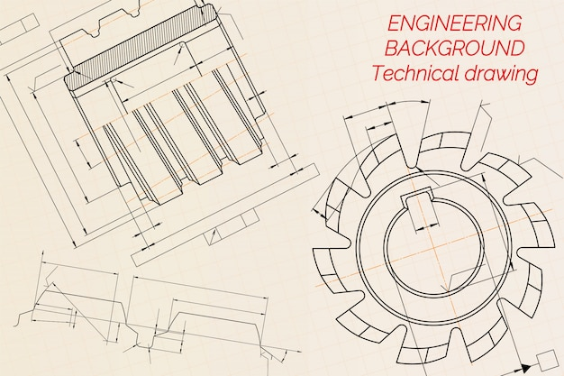 Mechanical engineering drawings on beige technical paper background. cutting tools, milling cutter. industrial design. cover. blueprint. business business.  illustration.