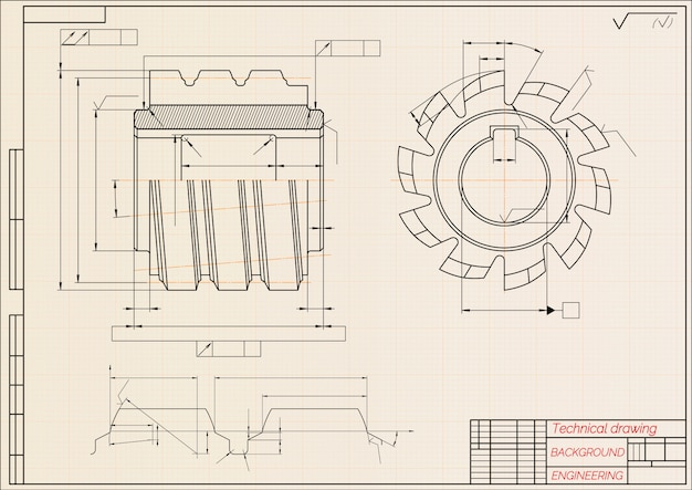 Mechanical engineering drawings on beige technical paper background. cutting tools, milling cutter.