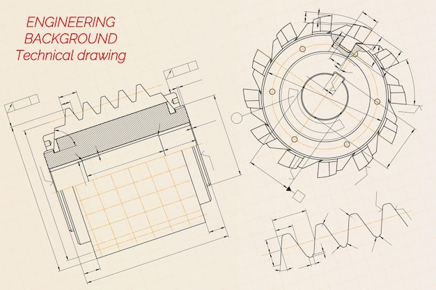 Mechanical engineering drawings on beige technical paper background