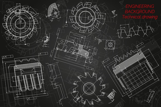 Mechanical engineering drawings on black background. cutting tools, milling cutter. technical design. cover. blueprint. vector illustration.
