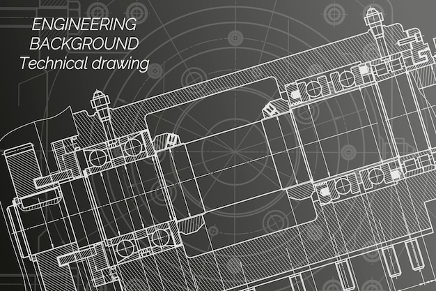 Mechanical engineering drawings on black background. milling machine spindle.