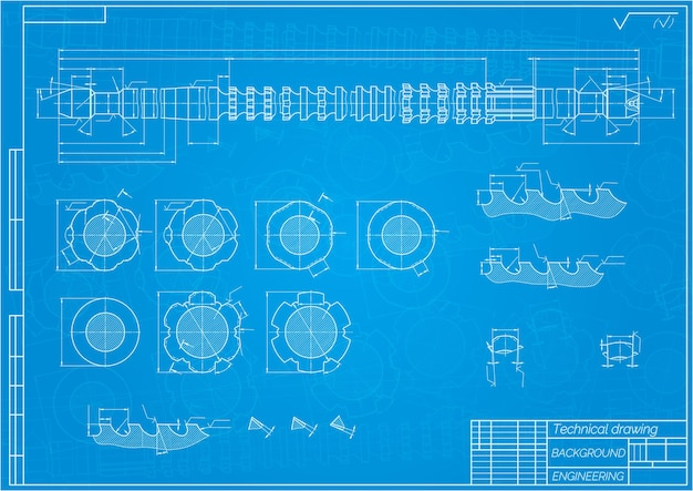Mechanical engineering drawings on blue background. broach. technical design. cover. blueprint. vector illustration.