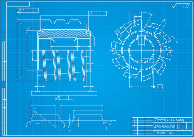 Mechanical engineering drawings on blue background. cutting tools, milling cutter. technical design. blueprint. vector illustration