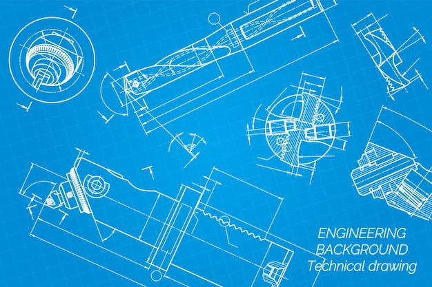 Mechanical engineering drawings on blue background. drill tools,  borer. boring bar with micrometric adjustment.  broach. technical design. cover. blueprint. vector illustration.