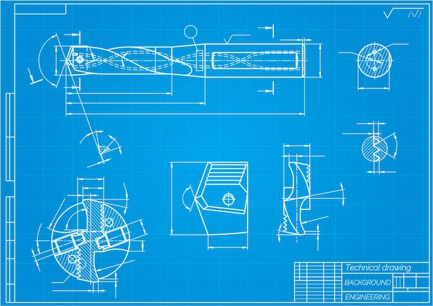 Mechanical engineering drawings on blue background. drill tools,  borer. technical design. cover. blueprint. vector illustration.