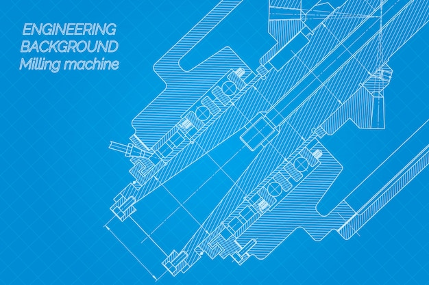 Mechanical engineering drawings on blue background. milling machine spindle. technical design. cover. blueprint.