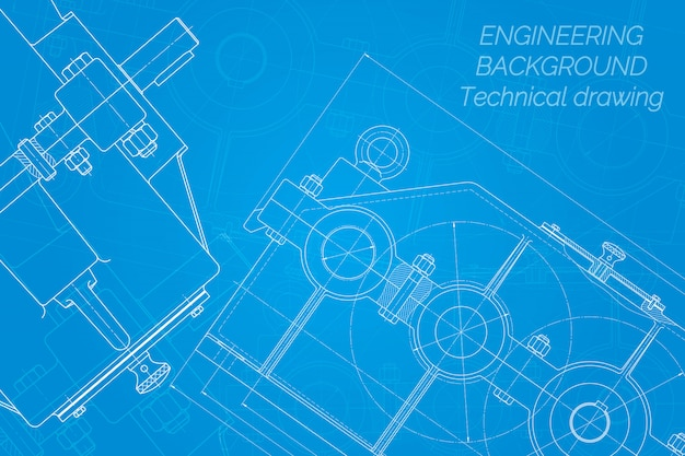 Mechanical engineering drawings on blue background. reducer. technical design. blueprint.