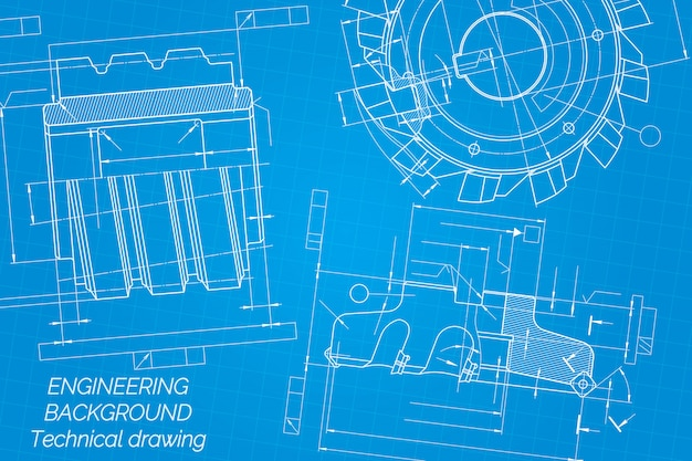 Mechanical engineering drawings on blue background
