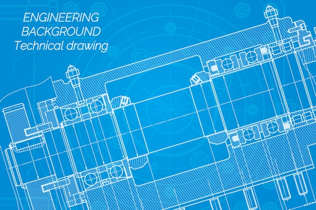 Mechanical engineering drawings on blue