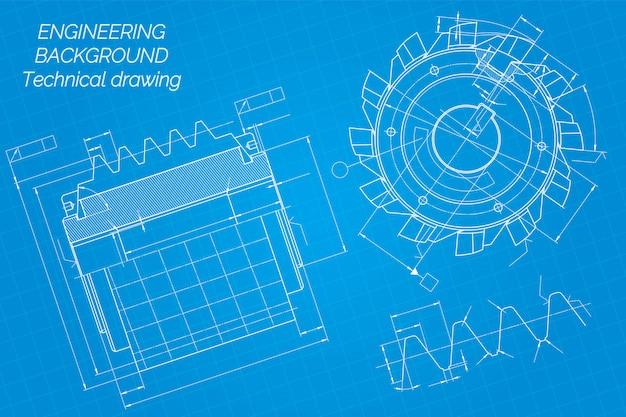 Mechanical engineering drawings on blue