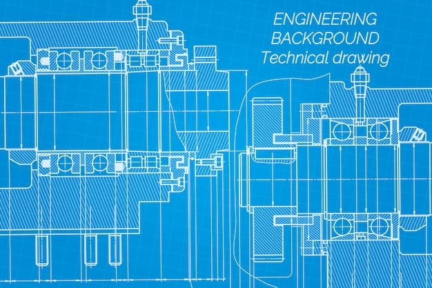 Mechanical engineering drawings blueprint.