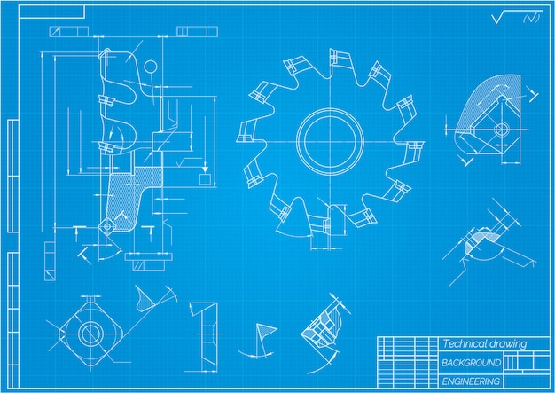 Mechanical engineering drawings. cutting tools, milling cutter. technical design