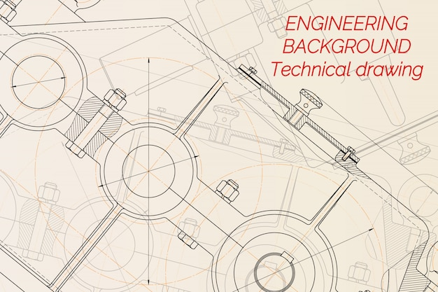 Mechanical engineering drawings on light background. reducer. technical design.