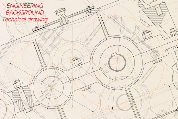 Mechanical engineering drawings on light background. reducer.