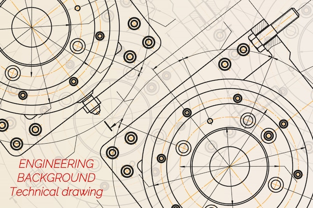 Mechanical engineering drawings on light background.