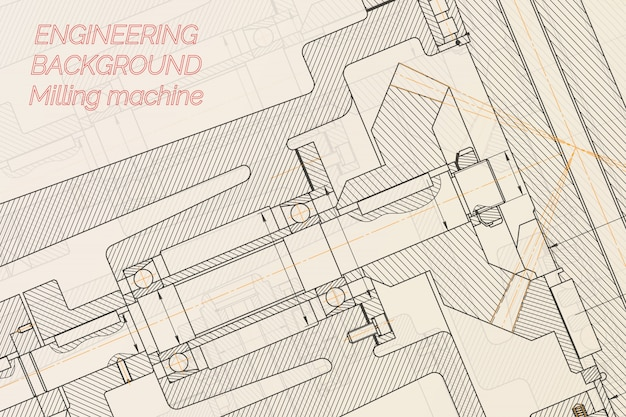 Mechanical engineering drawings  milling machine spindle. technical design.
