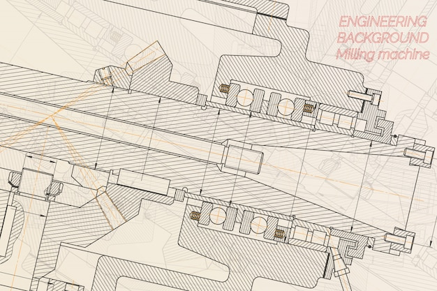 Mechanical engineering drawings  milling machine spindle. technical design