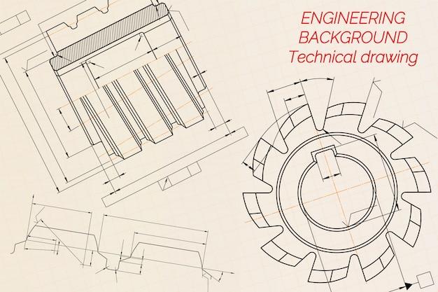 ベージュの技術論文の背景に機械工学図面。切削工具、フライスカッター。工業デザイン。カバー。青写真。ビジネスビジネス。図。