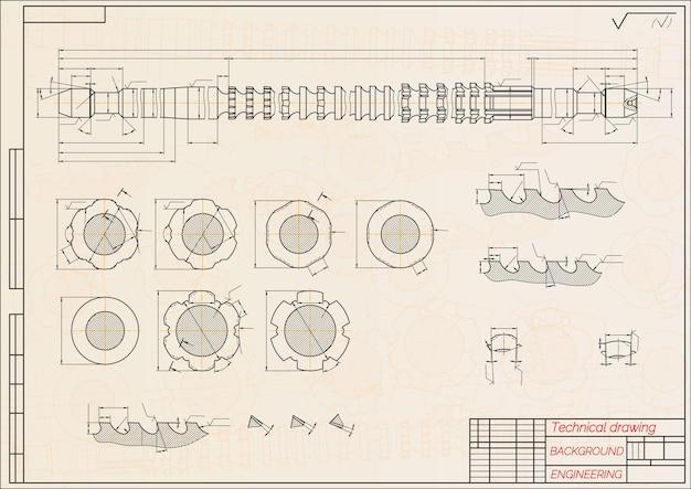 파란색 배경 브로치 기술 설계 커버 청사진 벡터 일에 기계 공학 도면...