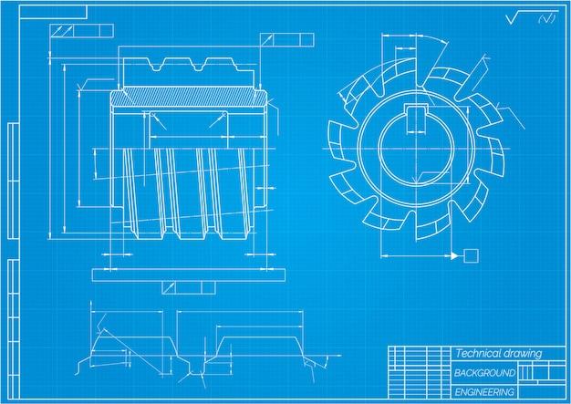 파란색 배경에 기계 공학 도면입니다. 절삭 공구, 밀링 커터. 기술 설계. 청사진. 벡터 일러스트 레이 션