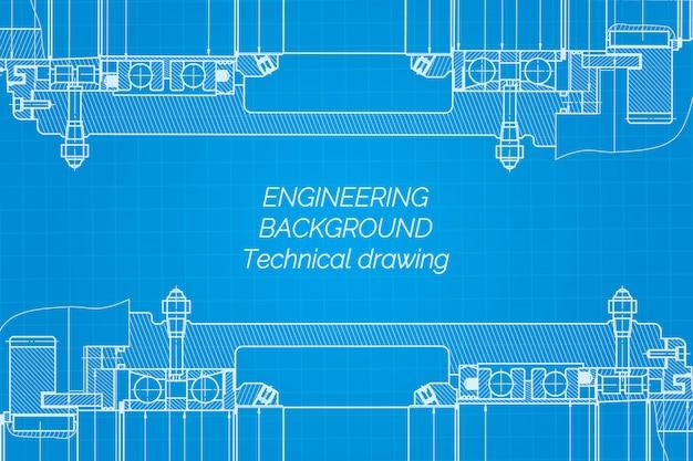 파란색 배경에 기계 공학 도면입니다. 밀링 머신 스핀들. 기술 설계. 덮개. 청사진.