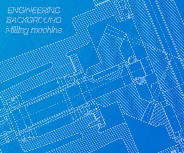 파란색 배경에 기계 공학 도면입니다. 밀링 머신 스핀들. 기술 설계.