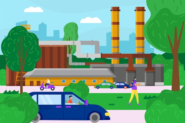 Здание механической фабрики, фабрика современного городского пейзажа, усердная прогулка сотрудника предприятия пейзаж плоская векторная иллюстрация.