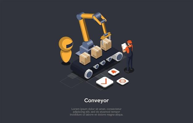 기계 취급 장비 개념. 남성 직원이 컨베이어 시스템 리프팅 작업을 테스트합니다. 리프팅 장치로 취급 품목을 뒤집거나 기울일 수 있음