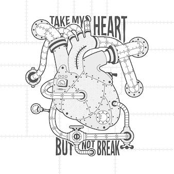 스팀 펑크 스타일의 기계적 심장 이미지. 심장 모터 빈티지 레터링. 프리미엄 벡터