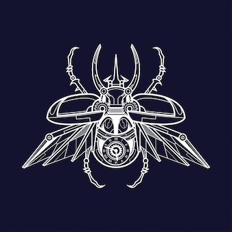 Mechanical male atlas beetle illustration, tattoo and tshirt design