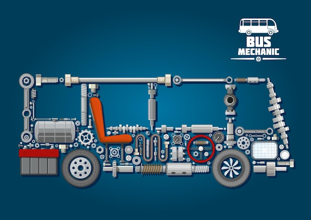 Mechanical parts arranged in a shape of a bus with crankshafts and fuel tank, battery and steering wheel, cylinder and wheels, discs and speedometer, axles, seat and headlight. bus mechanics design