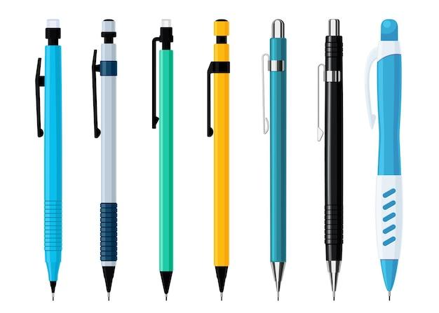 さまざまなデザインのシャープペンシルセット。書き込みとペイントのためのツールのコレクション。白い背景で隔離のフラットベクトルイラスト