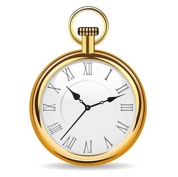 白い背景で隔離の金のボディベクトルイラストの機械式懐中時計