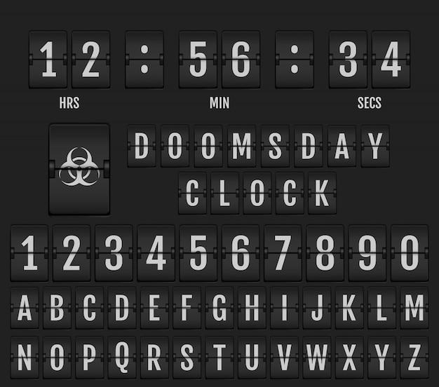 機械的なスコアボードのアルファベット。