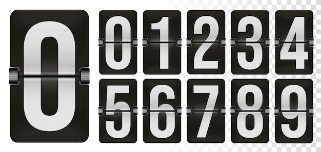 Номер механического табло установлен для счетчика времени перекидных часов. таймер будильника, счет дня даты числовой механический счетчик, отображение времени цифра символ векторные иллюстрации, изолированные на белом фоне
