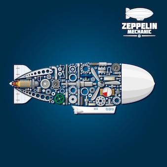 프로펠러 및 터빈, 기어 휠 및 베어링, 압력 호스 및 게이지로 구성된 현대 곤돌라, 방향타 및 봉투가있는 제플린 비행선 기호의 기계적 실루엣